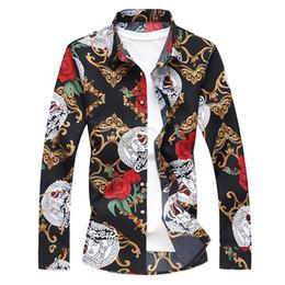 chemises longues longues en soie Promotion Plus la taille 7XL top hommes en soie à manches longues 2018 printemps mens robe designer robe bonne qualité C19011001