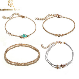 3ff3eb83573 4Pcs Set Exquisite Beaded Crystal Palm Bracelet Anklet for Women Handmade  Weave Rope Bead Rhinestone Alloy Anklet Bracelets Gift Wholesale