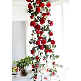 2019 aves artificiales al por mayor Flores artificiales vid rosada de las flores del jardín de ratán colgante de hoja de la planta de la guirnalda de flores de seda de la boda las vides de la decoración de la decoración del hogar