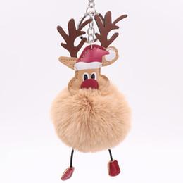 Deutschland Großhandel 10 teile / los Weihnachtsmann elch schlüsselanhänger Gefälschte kaninchen pelz ball Flauschigen Schlüsselanhänger Halter porte Auto Schlüsselanhänger weihnachtszier ... supplier christmas ball holder Versorgung