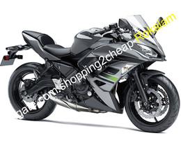 2019 corredo in iniezione Kit carena carrozzeria per Kawasaki Ninja 650R ER 6F 2017 2018 ER-6F 17 18 ER6F 650 Nero Grigio Carene ABS Carenature (stampaggio a iniezione) corredo in iniezione economici