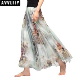 f059eae5834 Discount maxi skirts patterns - Elegant Long Skirt Room 2018 Summer Chiffon  Maxi Bohemia Beach High