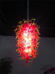 Luces colgantes amarillas online-Hogar personalizado iluminación colgante de cristal rojo y amarillo araña moderna mano soplado vidrio araña luces LED para la nueva decoración de la casa