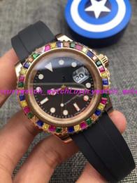 Montre arc-en-ciel en Ligne-6 montres de luxe de style RAINBOW Diamond 18K ROSE GOLD Argent 116695SATS Nouveau bracelet en caoutchouc automatique de mode montre homme Montre-bracelet