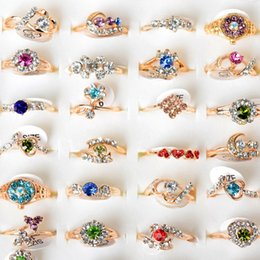 simple gifts band Coupons - Bulk 30pcs Lot Colorful Crystal Rings For Women Gold Color Simple Rhinestone Rings Wedding Engagement Rings