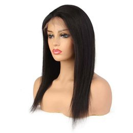 indian style hair knots Coupons - Virgin Peruvian Human Hair Full Lace Front Wigs Straight Bleached Knots Pre Plucked Affordable Good Quality styles for Women Girls Fast Ship