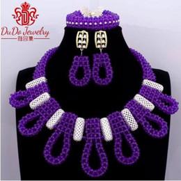 memorizzare i braccialetti Sconti Dudo Store Set di gioielli viola Set di orecchini africani da donna Bracciale Set di gioielli da sposa di lusso Spedizione gratuita 2019 Abiti da sposa