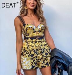 2019 бюстгальтер новый стиль DEAT 2019 Новый бюстгальтер без бретелек с принтом Сексуальные шорты с высокой талией из двух частей Набор для пляжного отдыха WF80607 Летние стили скидка бюстгальтер новый стиль