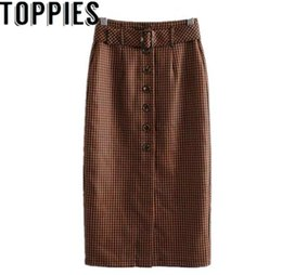 8ec3366baf 2019 modelos de faldas largas Nuevo patrón de cintura alta falda larga con  botones para las