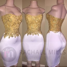 yellow backless bodycon dress Promo Codes - Newest Gold Beads White Bodycon Short Mini Fitted Prom Party Dress 2019 Halter Sleeveless Zipper Cocktail Celebrity Gown BA6414