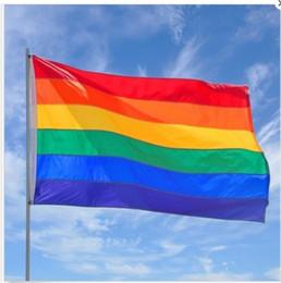 bandiere decorativi da giardino Sconti 90 * 150 cm Arcobaleno Bandiera Poliestere Materiale LGBT Poliestere Colore decorativo Arcobaleno Bandiera Giardino Bandiera T3I5074