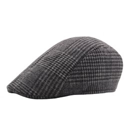 c096037786fec Men Winter Warm Ivy Hat Wool Plaid Flat Cap Retro Vintage Newsboy Caps  Painter Hats Cabbie Driver Father Boina Duckbill Cap