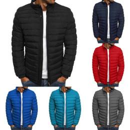 2019 abrigo de piel azul abrigo hombres Casuales para hombre del soplador de burbujas por la chaqueta de la capa de peso ligero acolchado acolchado poco voluminoso Outwear Parkas Coat Streetwear Tops