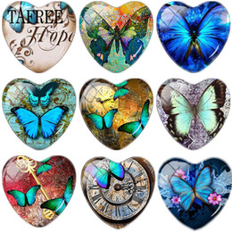 TAFREE старинные бабочки искусство фотография в форме сердца DIY стекло Cabohcon демо плоской задней решений выводы для ожерелье серьги от