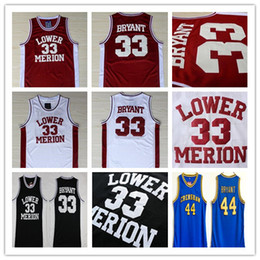 2021 44 maillot de basket-ball NCAA Lower Merion 33 Bryant Jersey College Basketball Hommes Lycée Hightower Crenshaw 44 Noir Rouge Blanc Bleu 2020 Cousu Hot vente