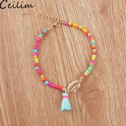 braccialetti di fascino della caviglia Sconti Etnici colorati piccoli nappe perline cavigliera per le donne Shell Charm catena caviglia perline bohemien catena bracciali piede gioielli accessori