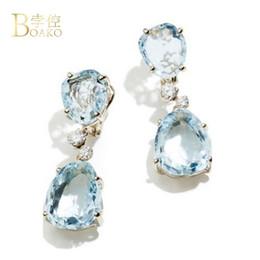 79a81f2fa BOAKO Sky Blue Crystal Stone Dangle Earrings Transparent Rhinestone Simple  Fashion Jewelry Elegant Temperament Drop Earrings B3 earrings drop dangle  blue ...