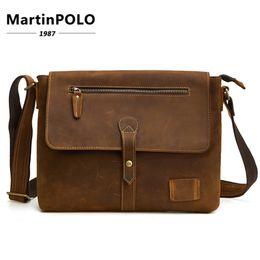 Brand Genuine Leather Men Bags Crossbody Bags Vintage Crazy Horse Leather  Briefcases Laptop Shoulder Messenger Bag Men s Handbag bb0e2bf34f1b6