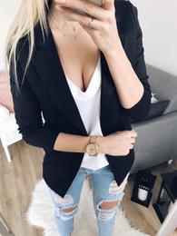 Chaquetas largas de negocios para damas online-Otoño Mujer Señora Chaqueta casual de manga larga Abrigo Chaqueta de negocios Tops Outwear Traje sólido delgado Office Lady Wear