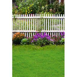 recinzione di legno fiorito Sconti Laeacco Spring Green Grass Fiori Recinzione in legno Garden Baby Outdoor Scenic Photography Sfondi Fondali Foto Studio