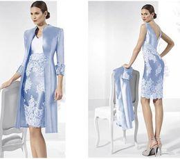 Wholesale Небесно голубая Тафта мать невесты Платья с курткой оболочка мать жениха платья на заказ две части женщины вечерние платья