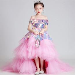 Trajes de piano online-Shows modelo de pasarela anfitrión funcionamiento de los trajes del piano de cola vestido de lentejuelas Vestido Para la fiesta de cumpleaños de la tarde Niñas de lujo