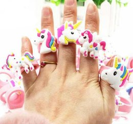 wholesale party toys Coupons - Cute Cartoon Unicorn Ring Unicorn Birthday Party Favors Supplies Kids Baby Finger Ring Toys Kids Christmas Birthday Gift 0601891