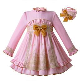 Fiesta de bata online-Pettigirl Pink Lace Kids Dress Princesa Vestido Fiesta de cumpleaños Vestidos Niña Bautizo Español Ropa para niños Robe Fille G-DMGD110-C106