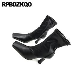 2020 tendências botas de queda preto das senhoras tendência stiletto sapatos queda verde toe mulheres quadrados de salto alto colaterais casuais zip botas 2019 tornozelo outono curta impermeável tendências botas de queda barato