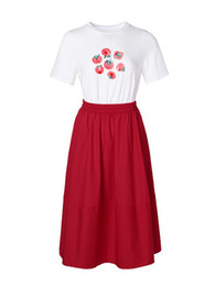 Белые короткие юбки онлайн-High Quality Women's Sets 2019 Summer Fashion New Designer Short Sleeve White Shirt + Red Skirts Two-Piece Suit Female L313