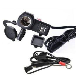 Tomada de cigarro impermeável on-line-Motocicleta 2.1A carregador USB À Prova D 'Água Tomada de Isqueiro 2 em 1 Carregador De Energia guidão da motocicleta com interruptor de 1.5 M linha