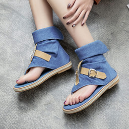 Señoras Denim sandalias planas para mujer sandalias de plataforma zapatos de verano mujer Gladiador sandalias mujer envío de la gota desde fabricantes
