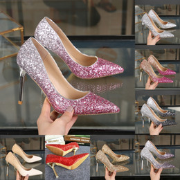 sapatas dos saltos da celebridade Desconto Blingbling Ombre Vestidos De Noiva 2019 Celebridade Inspirado Formal Desgaste Sapatos De Salto Alto 9 cm 7 cm 5 cm Ouro Prata Cinza Roxo Lantejoulas Prom sapatos