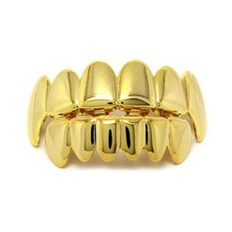 Churrasqueiras reais on-line-Punk Ouro Grillz dentes inclinados New alta dos homens da qualidade Hip Hop jóias reais Dentes banhado a ouro Grills Acessórios