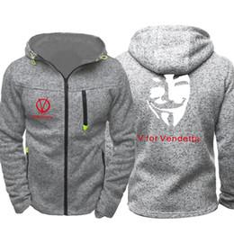 2019 jackenmaske V wie Vendetta Mask Print Männer Sport Freizeitkleidung Hoodies Reißverschluss Mode Trend Jacquard Herbst Sweatshirts Frühling Herbst Jacke Mantel rabatt jackenmaske