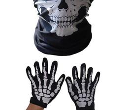 Juguetes terroristas online-Máscara de Halloween Terrorista Máscara de barbilla Esqueleto Guantes fantasma Set Party Dress Up Juguetes divertidos fábrica al por mayor