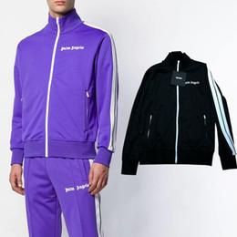 hip-hop-cardigans Rabatt Palm Angels Zipper Hoodie Jacke Stripe Side Cardigan Hoodie Sweatshirt Frauen Männer Hip Hop Jacke Joggers Trainingsanzug PXG1108