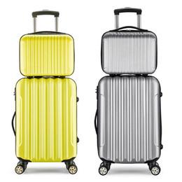 2019 bloqueo de equipaje de dibujos animados 2pcs 14 + 20/24 pulgadas del equipaje del balanceo Sipnner Ruedas ABS + PC Viajes Mujeres Hombres Maleta Moda cabina de equipaje de equipaje de la carretilla Box