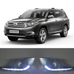 2019 cubiertas de luz toyota Luz de conducción diurna LED ECAHAYAKU DRL para Toyota High Lander 2012 2013 izquierda derecha cubierta de luz antiniebla con relé rebajas cubiertas de luz toyota