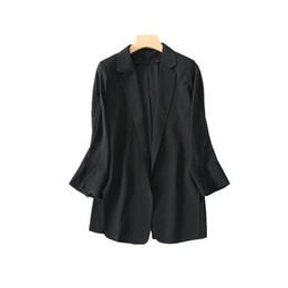 2019 trajes de gasa blazers 2019 Hot Summer Women Small Suit Thin Chiffon Suit Casual Tops Mujer Chaqueta de manga larga S-XL Trajes de mujer Blazers trajes de gasa blazers baratos