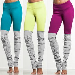 Leggings rosa morado online-Costura en color caramelo Pantalones de yoga Gris Verde Púrpura Mujeres Mallas para correr Amarillo Rosa Patchwork Deportes Fitness Leggings 6 colores # 680574