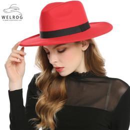 Красная шляпа trilby онлайн-WELROG Black Red Fedora шляпа для женщин Имитации шерсти фетровой Панамы Войлока Hat Зимнего Мужчины Джаз Шляпа Шляпа Вводной Femme Caps