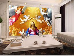 Argentina Tamaño personalizado foto 3d papel tapiz mural salón Europeo Ángel pintura al óleo imagen 3d sofá telón de fondo papel tapiz mural no tejido stickera cheap angels weaves Suministro