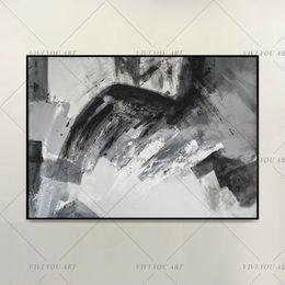 2019 grande lona arte preto branco Grande 100% Pintado À Mão Pintura A Óleo Moderna Pintura A Óleo Original Arte Taupe Branco BLACK Design Contemporâneo Lona Frete Grátis grande lona arte preto branco barato