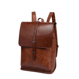 Pacco posteriore in pelle d'epoca online-Zaino Vintage Pu Leather Business Borse da viaggio Designer Shoulder Bag Back Pack per sacchetti di scuola femminile A10381