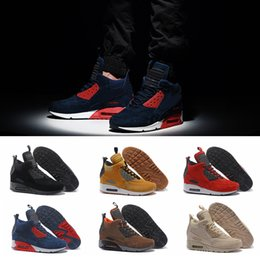 2019 alto invierno cortar zapatos corrientes 2019 Chaussures 90 Winter Sneakerboot Zapatillas de running High Cut Top Quality 90s Zapatillas de deporte para hombre Zapatillas deportivas de gamuza de piel Air Zapatillas alto invierno cortar zapatos corrientes baratos