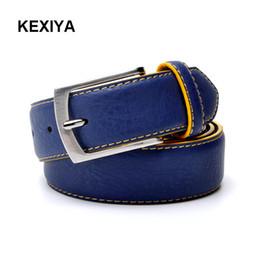 2019 salida de cinturones KEXIYA 2017 cinturón de hombre diseño italiano de lujo estilo casual moda cuero hombres cinturón azul cinturón de salida de fábrica salida de cinturones baratos