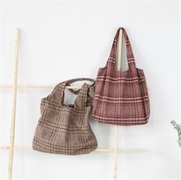 2019 ajouter de l'art Retro polyvalent Arts Totes Bag Lady ajouté sacs de laine épaisse Sac à bandoulière simple à carreaux Sac de grande capacité promotion ajouter de l'art