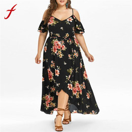 9f7263d51352 vestidos verano 2018 Women maxi dress Short Sleeve Cold Shoulder Boho Flower  Print summer dress plus size long dress vestido Y190117