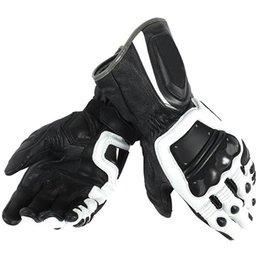 Guantes de cuero blanco hombres online-Guantes SCP de 4 tiempos Stroke Motocross, para hombres, para carreras, guantes de cuero Dain, negro / blanco